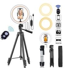 Trípode con lámpara led circular para fotos, utensilio de fotografía con bluetooth, control remoto, soporte de 26 cm, ideal para hacerse un selfie con el teléfono, para YouTube