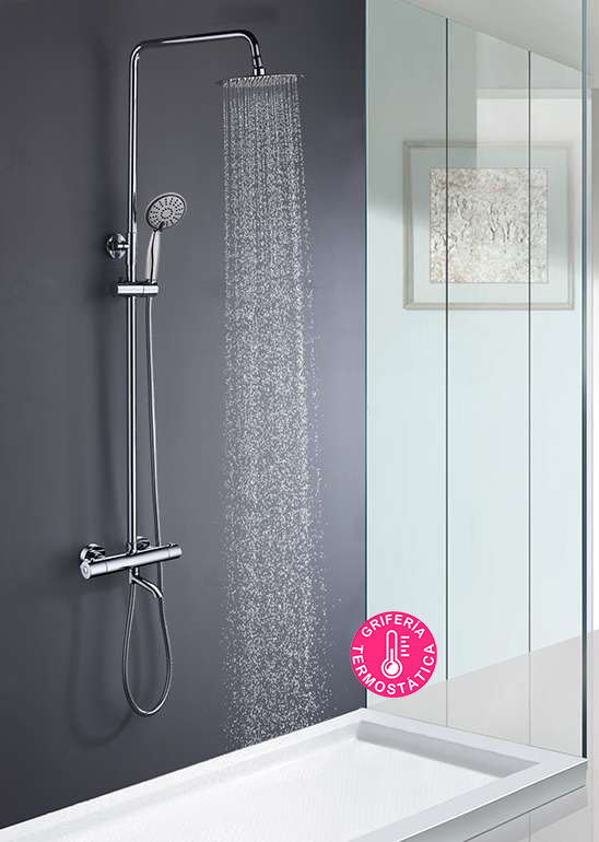 Kibath Column Thermostatic Shower WITH SPOUT Round. Extensble 80-120cm. Handle And Sprayer Round