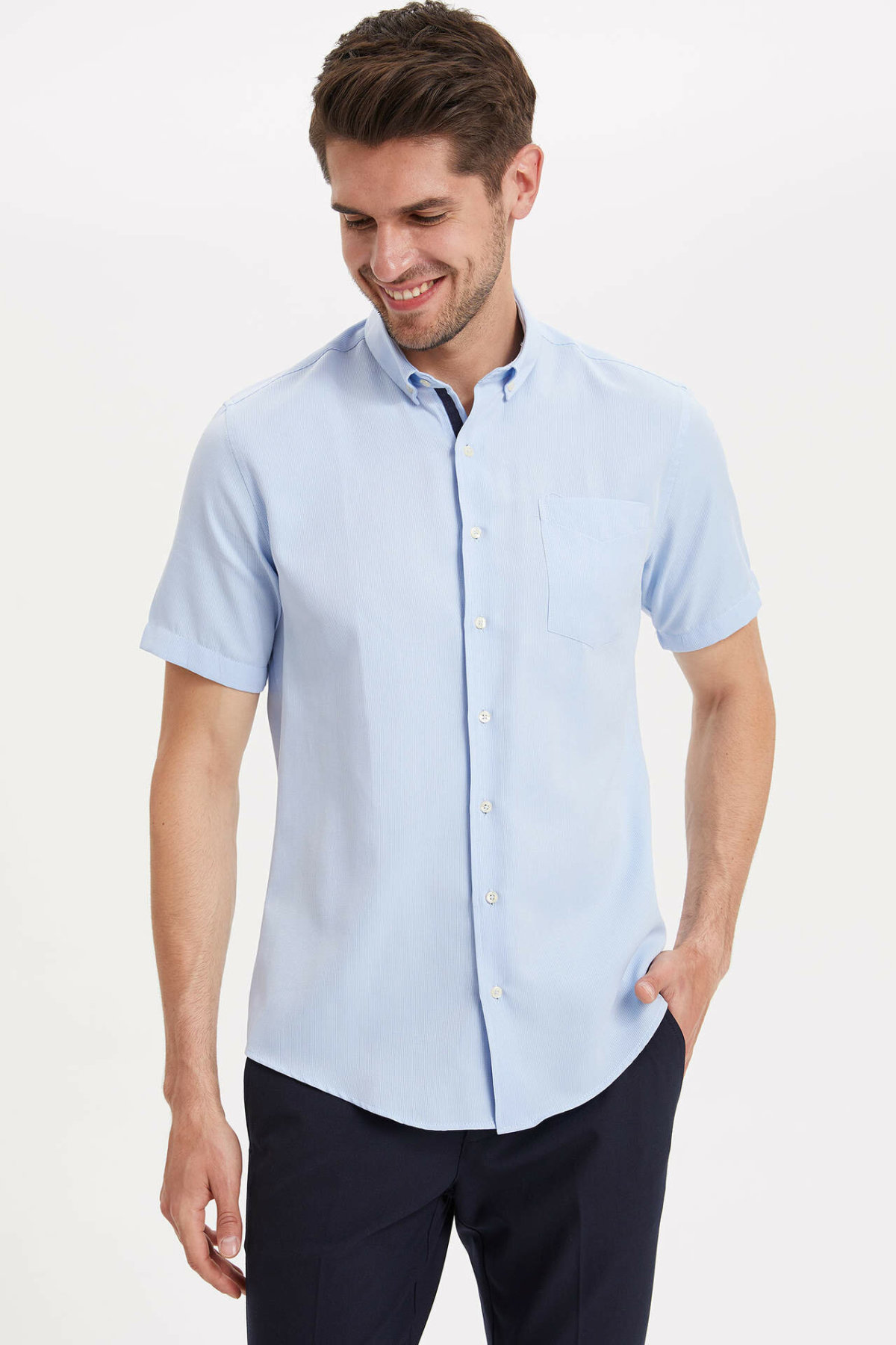 DeFacto Man Fashion Short Sleeve Shirt Summer Men's Pure Color Pattern Casual Shirts Male Simple Leisure Blouser - K2950AZ19SM