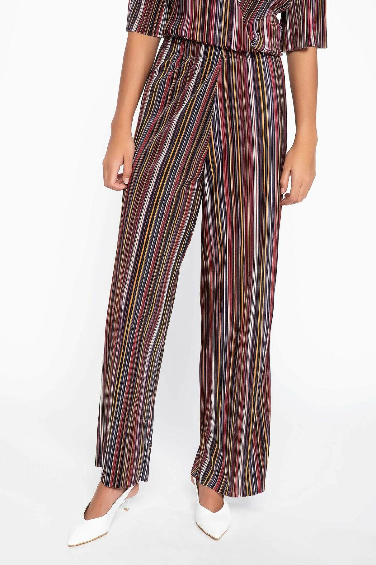 DeFacto Women Fashion Trousers Female Casual Comfort Pants High Qualilty Striped Loose Long Wide Leg Pant Female J7988AZ18AU
