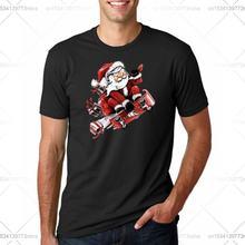 Мужская модная футболка с забавным принтом Санта Клауса