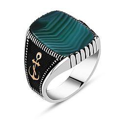 925 пробы Серебряный морской якорь агат драгоценный камень кольцо