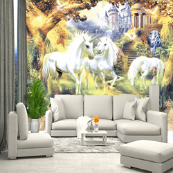 Childrens wallpaper unicorn, wallpaper for childrens room, hall, bedroom, wall mural expanding space