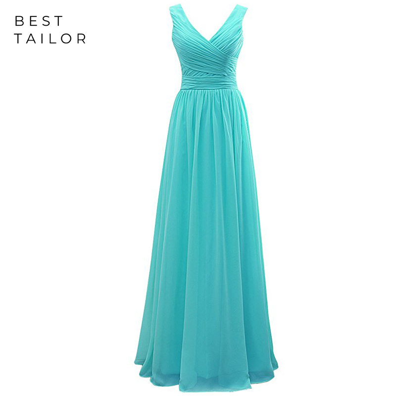 Simple Chiffon Long Bridesmaid Dresses Turquoise Maid Of Honor Gown V-Neck Custom Make Vestido De Fiesta De Noche Robe De Soiree