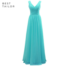 Simple Chiffon Long Bridesmaid Dresses Turquoise Maid of Hon