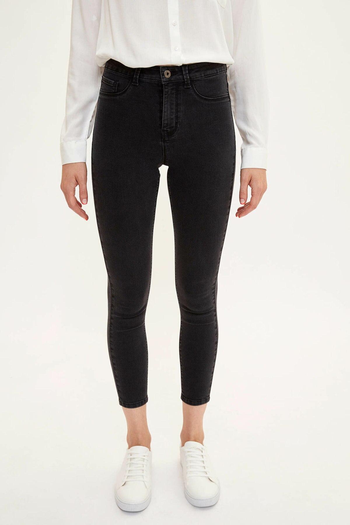 DeFacto Black Blue Women Mid-waist Skinny Denim Jeans Simple Nine Minutes Trousers Stretch Pencil Pants Joker -L0598AZ19AU-L0598AZ19AU