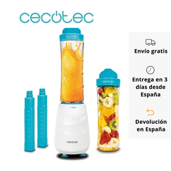 Cecotec Smoothies Power Mixer Titanium One Portable Tumbler Mixer 2 glasses 600 ml 2 Cooler tubes BPA Free 350W Chop Ice