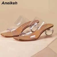 Aneikeh taille 41 42 43 PVC sandales cristal à bout ouvert Sexy talons ronds cristal femmes Transparent talon sandales pantoufles pompes fête