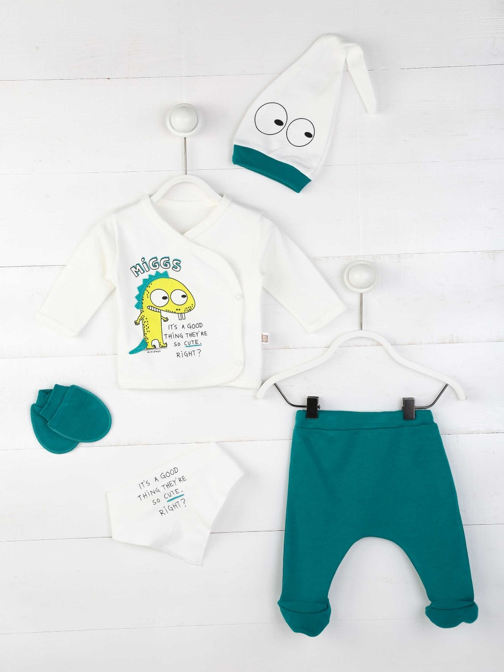 082-5470-049 Petrol Yeşili Erkek Bebek 5 li Hastane Çıkışı (1)