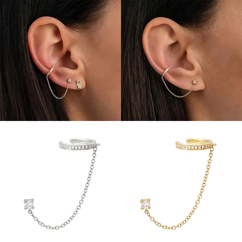 1pcs Fashion Hiphop Gothic Punk Handcuff Chain Earrings S925 Silver European Stud Earrings Chain For Women/Girl Party Jewelry