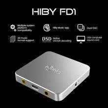 Hiby fd1 usb fone de ouvido decodificação deskstop dac áudio amplificador dsd128 3.5/2.5mm saída para windows android ios macos smartphones