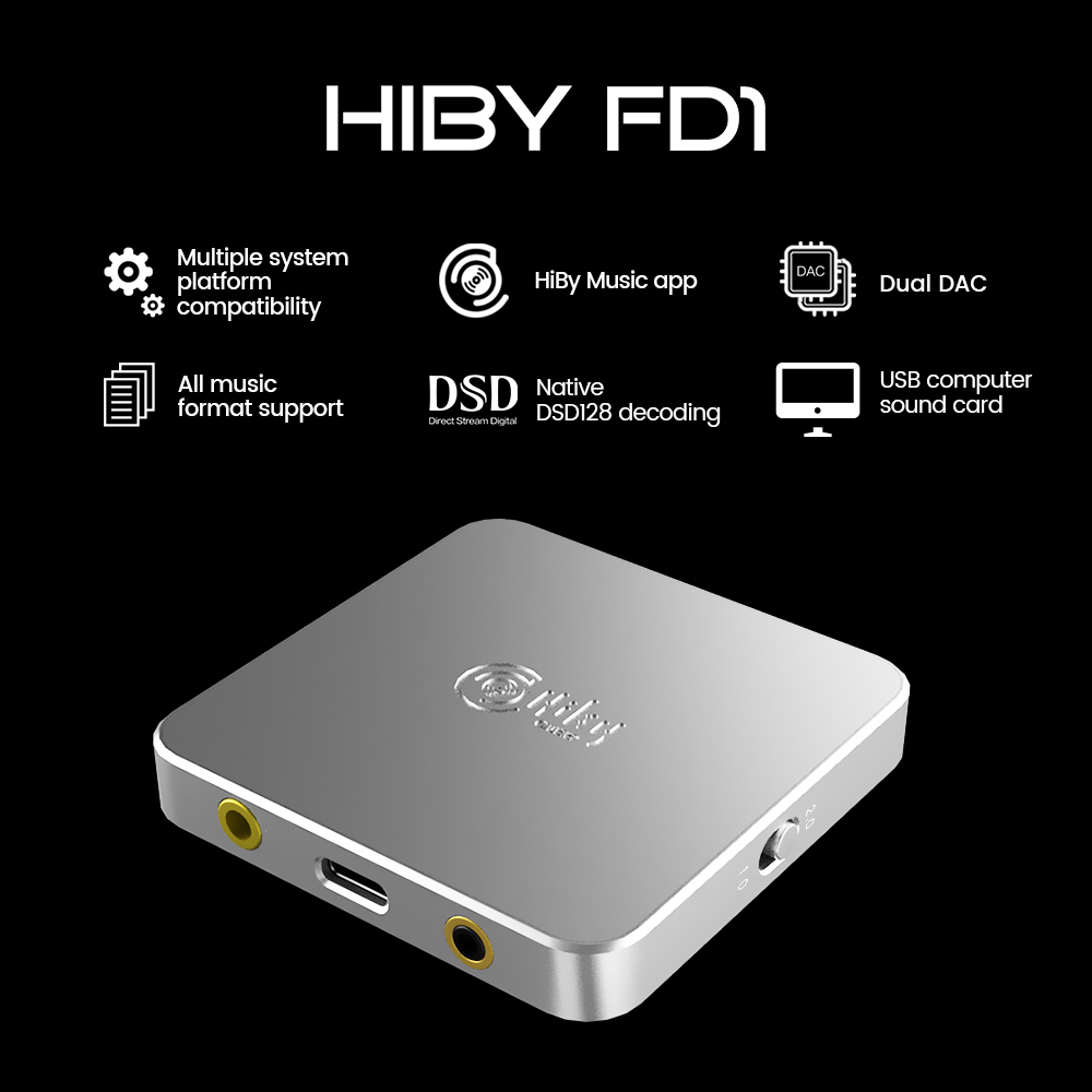 HiBy FD1 USB casque décodage ordinateur de bureau DAC amplificateur Audio DSD128 3.5/2.5mm sortie pour Windows Android iOS MacOS smartphones
