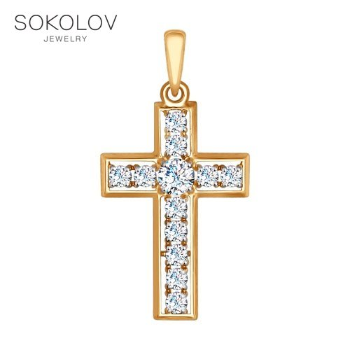 Cross SOKOLOV Gold With Cubic Zirconia Fashion Jewelry 585 Women's Male