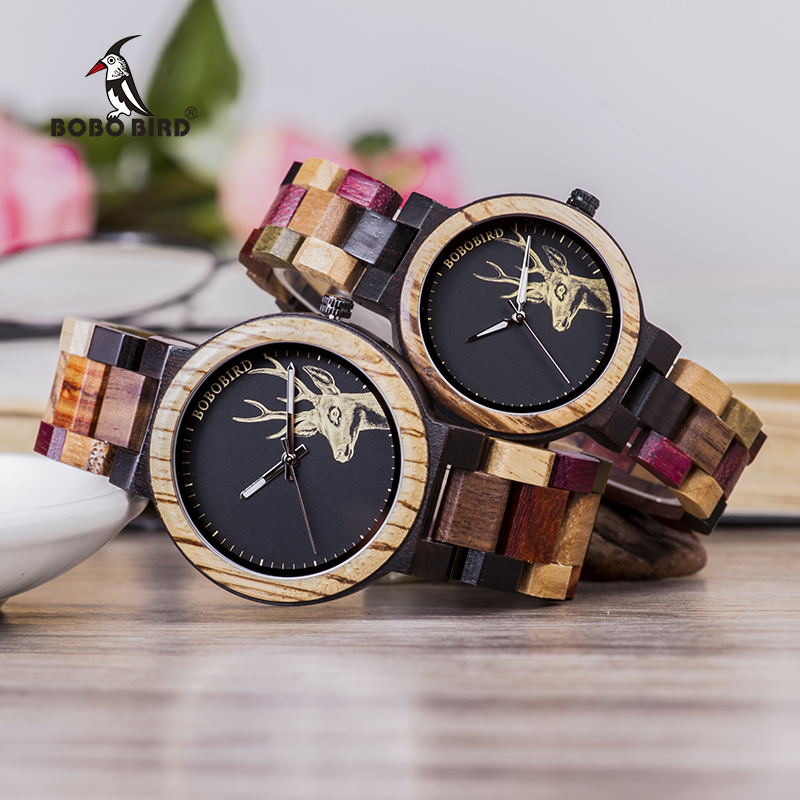 Relogio Masculino BOBO BIRD Couple Watches Colorful Wood Band Week Date Display Waterproof Accept Customize Quartz Wristwatch