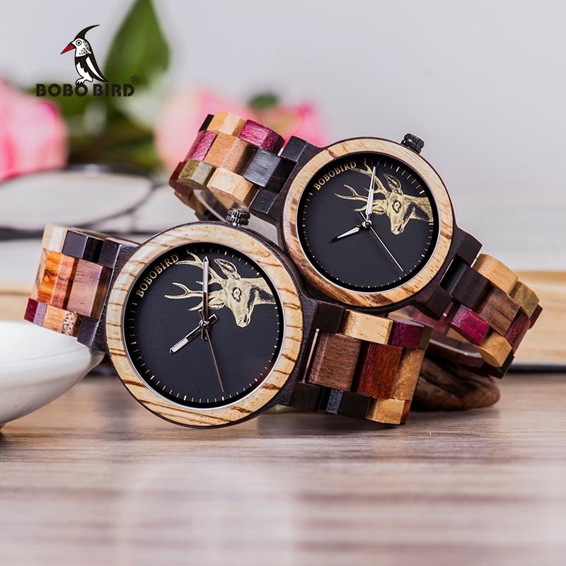 Relogio Masculino BOBO BIRD Couple Watches Colorful Wood Band Week Date Display Waterproof Accept Customize Quartz Wristwatch