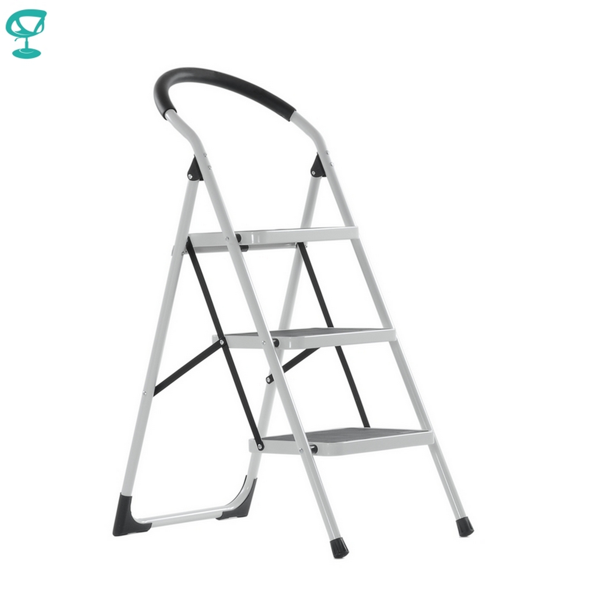95666 Barneo ST-33 Ladder Steel 3 Stage White Single Side Max Load 150 Kg Free Shipping To Russia