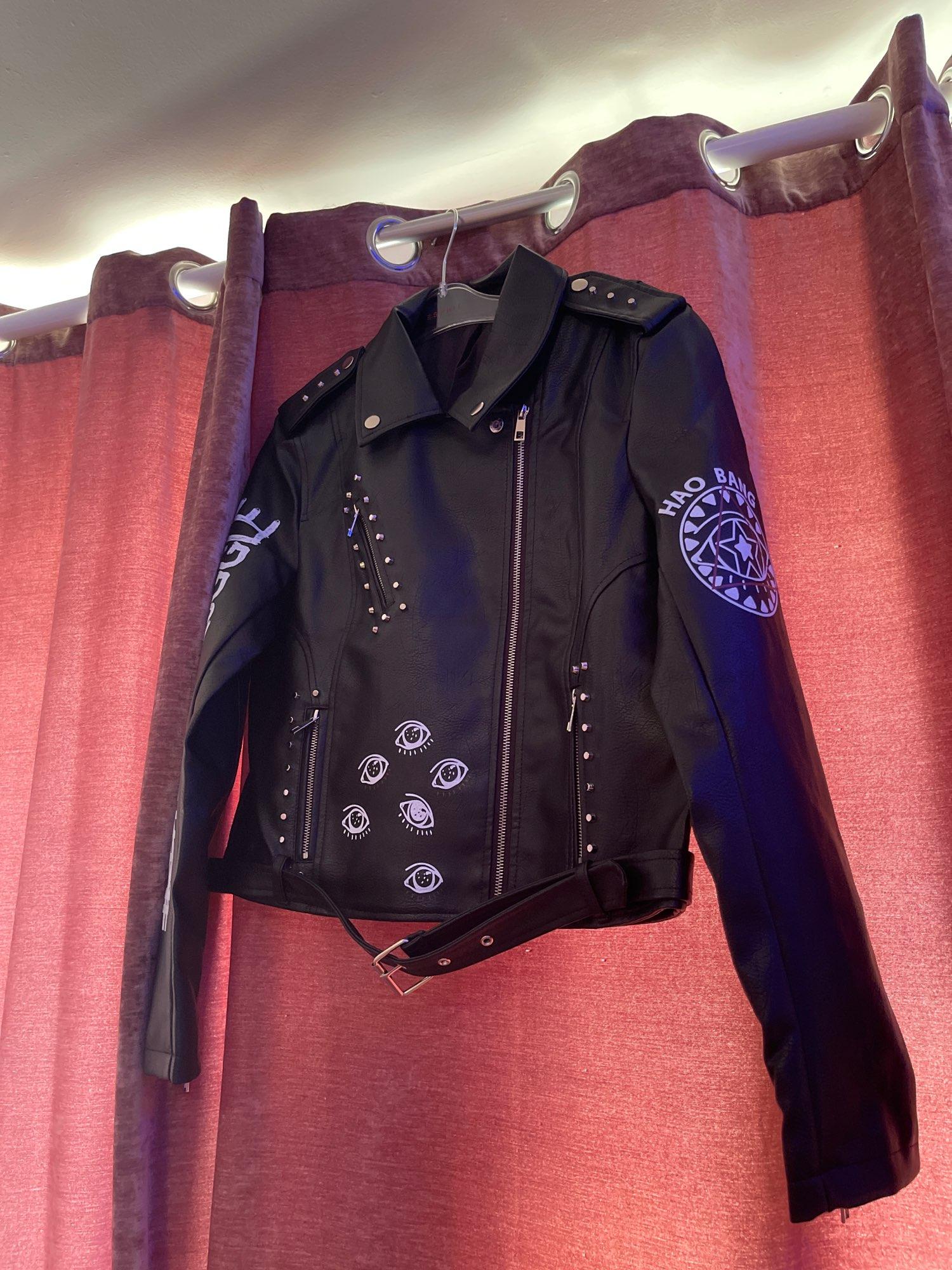 Punk Gothic Egirl Faux Soft Leather Jacket photo review