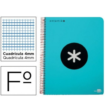 SPIRAL NOTEBOOK LEADERPAPER A4 ANTARTIK HARDCOVER 80H 100 GR TABLE 5MM TURQUOISE