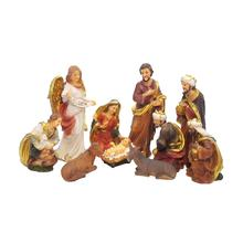 Statue Nativity Scene Baby Jesus Manger Christmas Crib Figurines Miniatures Ornament Church Xmas Gift Home Decoration