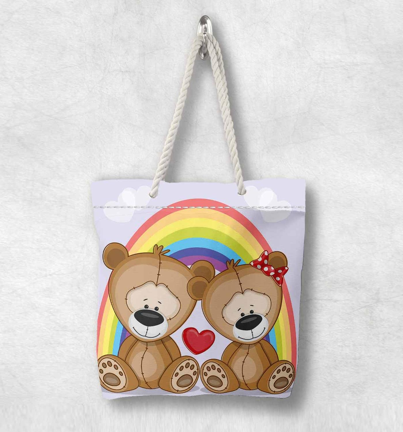 Else Funny Colored Rainbow Bears New Fashion White Rope Handle Canvas Bag Cotton Canvas Zippered Tote Bag Shoulder Bag