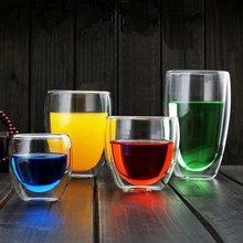New 250/350/450ML Handmade Heat Resistant Double Wall Glass Kungfu Tea Drink Cup Insulated Clear
