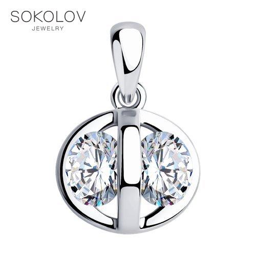 Pendant SOKOLOV From Silver With Cubic Zirkonia Fashion Jewelry 925 Women's/men's, Male/female