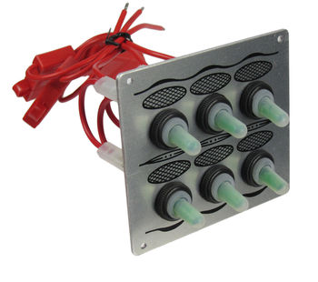 On-board power panel 6 switches, silver 10538