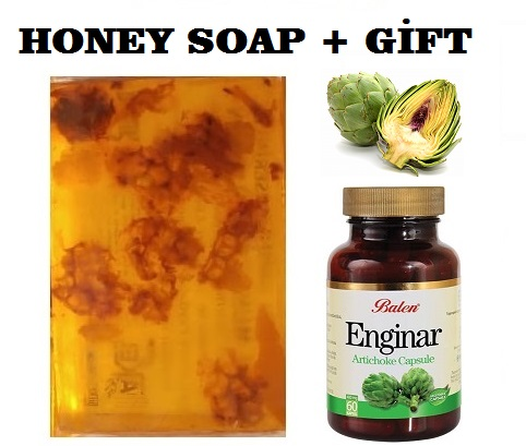 (gift Items)HANDMADE NATURAL HONEY SOAP 100gr+Gift Food Supplement Health Artichok High In Fiber 60 Capsules