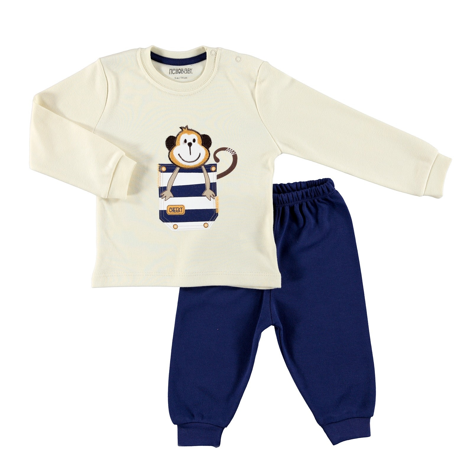 Ebebek HelloBaby Embroidered Interlock Long Sleeve Ribbed Snap Neck Single Baby Pajama Set