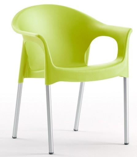 Armchair NILE Aluminum Stackable Polypropylene Lime Green *