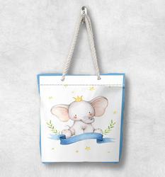 Else синяя кайма Милый Забавный слон скандинавский белая веревочная ручка Холщовая Сумка с мультяшным принтом на молнии сумка на плечо