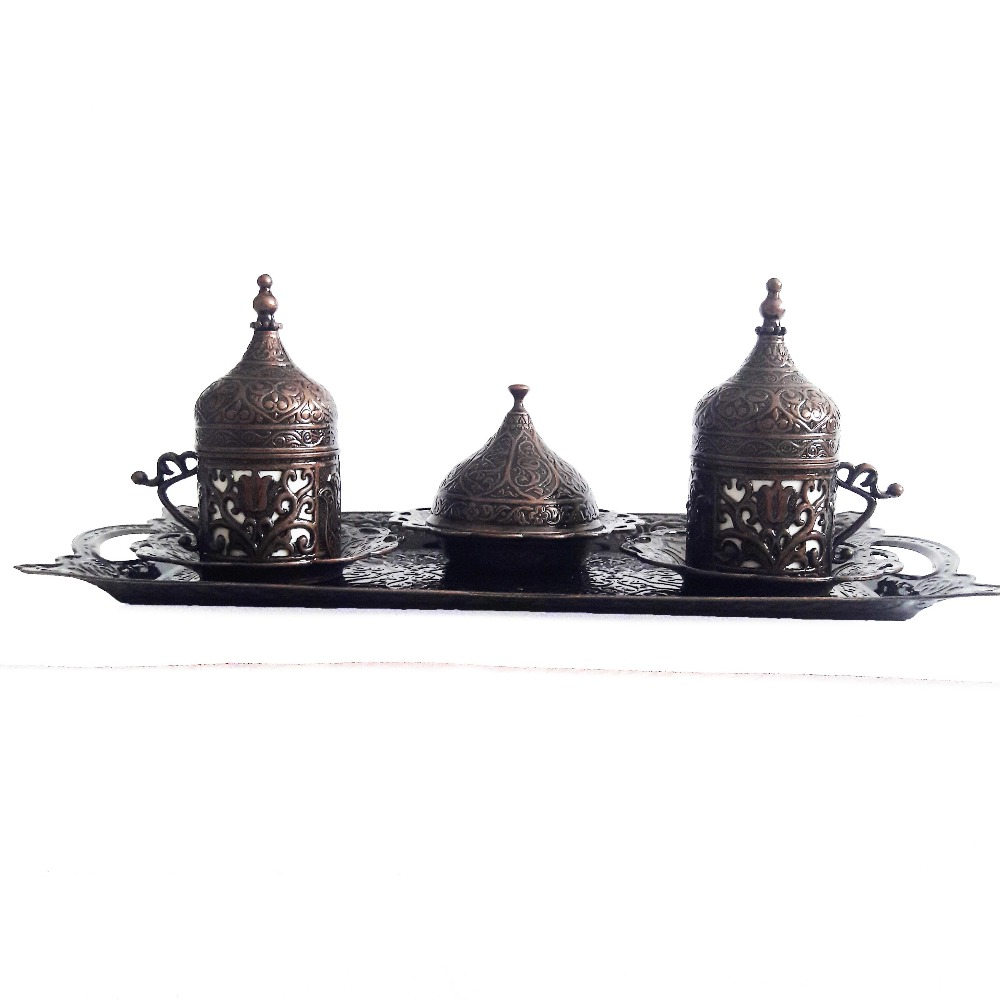 BLACK 2-Copper Turkish Coffee Cup Set-Tea Coffee Espresso Cups Set Anatolian Arabic Coffee Cups Set Ottoman Tea Sets MADE IN TURKEY