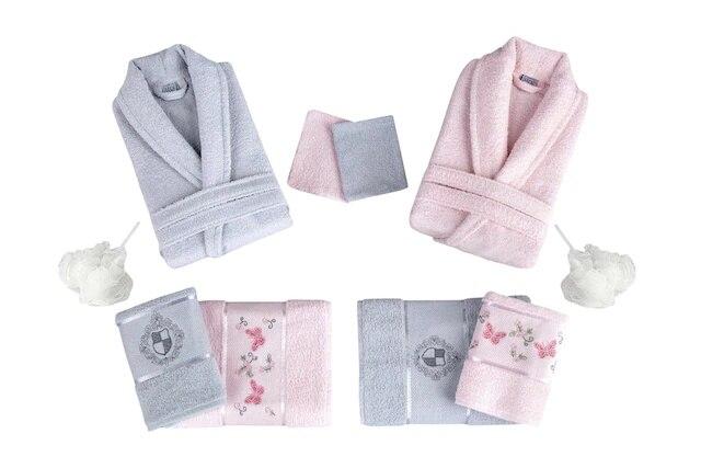 For Home 10 Piece Cotton Bathrobe Set Powder-Gray 386745045