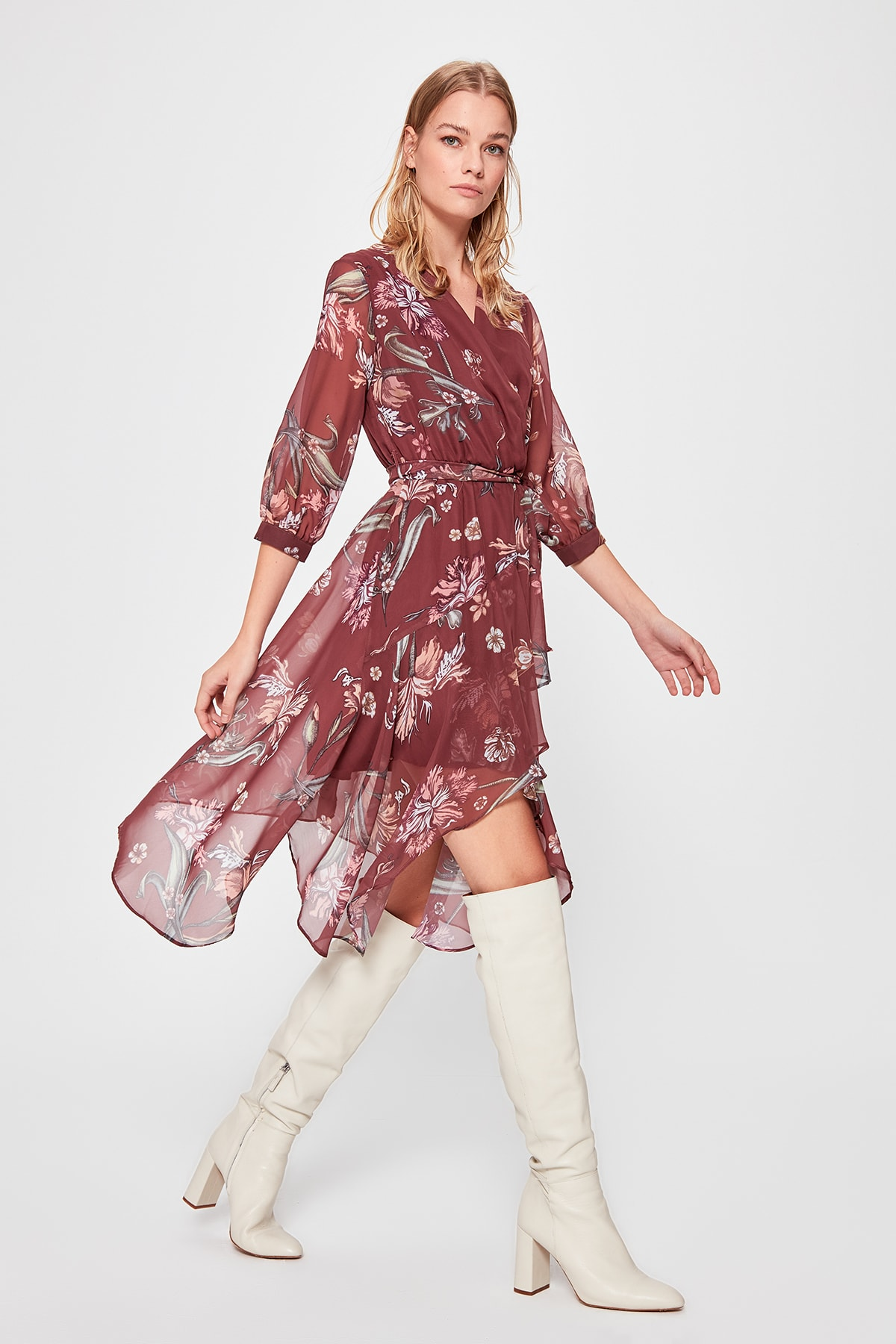Trendyol Belted Print Dress TWOSS19XO0114