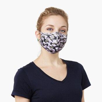 Mascarilla de tela lavable estampado camuflaje para mujer