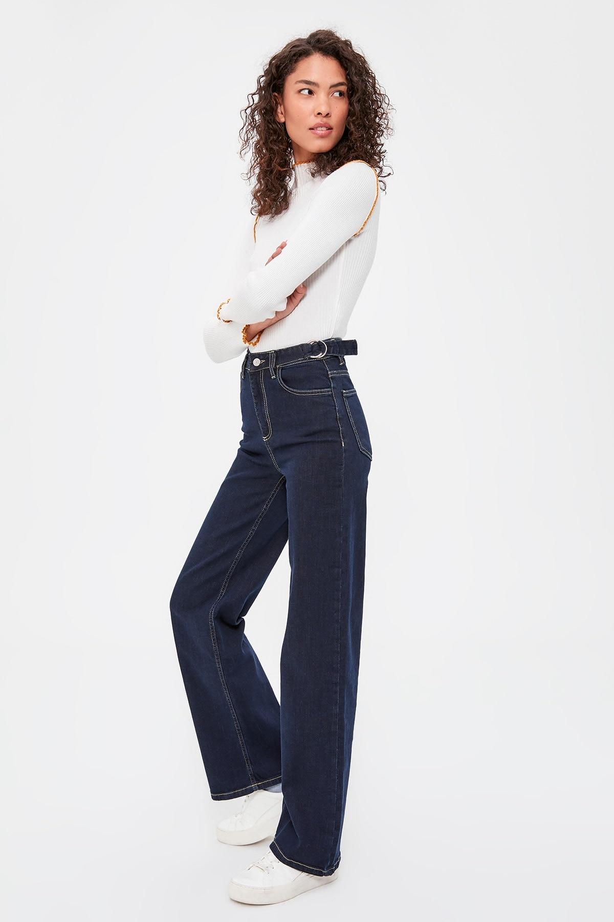 Trendyol Buckle Detail High Bel Wide Leg Jeans TWOAW20JE0184