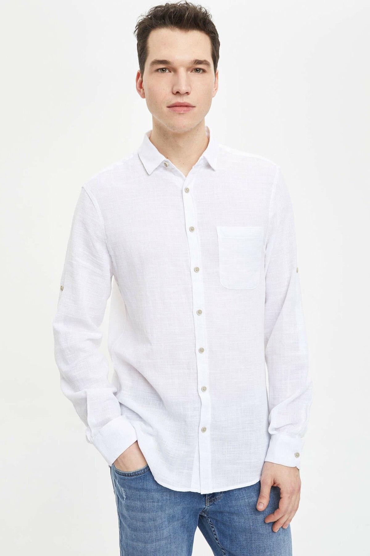 DeFacto Formal Man Shirt Fashion Male Casual Lapel Shirts Men's High Quality Long Sleeves Blousers White -M3632AZ19SM