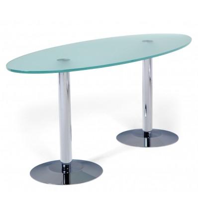 COFFEE TABLE OVAL 115X50x50 LEG CHROME/DASHBOARD GLASS