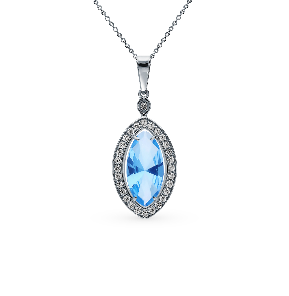 Silver Pendant With Topaz And Cubic Zirconia SUNLIGHT Test 925