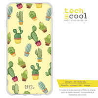 FunnyTech®Silicone Case for OnePlus 7 L Cactus patterns Yellow background