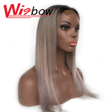 Grey Color Lace Wig With Closure Straight 4x4 Lace