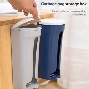 1PC Garbage Bag Storage Organizer Holder Wall Hanging Plastic Storing Rack With Cover For Home Kitchen Bathroom Accessories