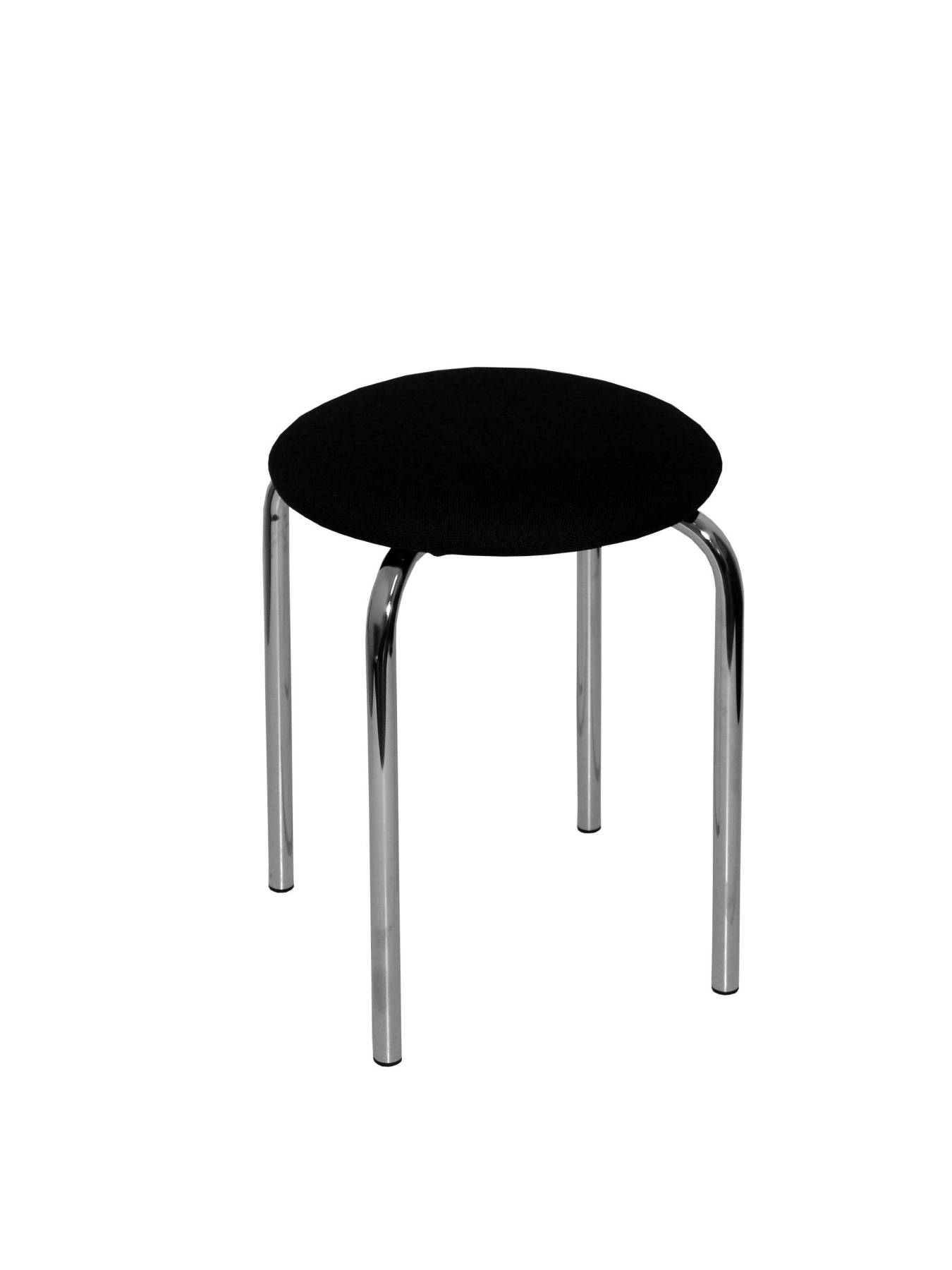 Pack Of 4 Stools Small Fixed And Structure Chrome Seat Upholstered In Fabric ARAN Color Black PIQUERAS And C