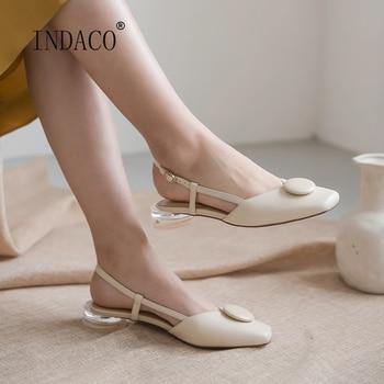 Women Leather Sandals Round Low High Heels Summer Sandals Slip on Summer Shoes 2.5cm