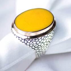 Мужское кольцо из 925 пробы серебряного янтарного камня