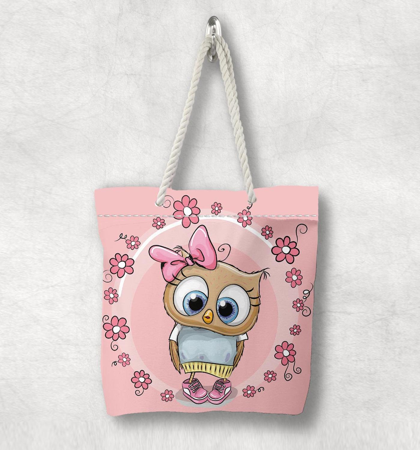 Else Pink Round Flowers Cute Owls Floral New Fashion White Rope Handle Canvas Bag Cotton Canvas Zippered Tote Bag Shoulder Bag