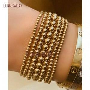 Image 2 - Dainty Bracelet Gold Filled Stack Electroplating Minimalist Bead Ball Beaded Shiny Metal Stretch Bracelet BM27782