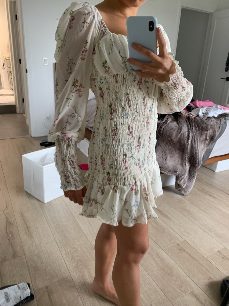 Sexy Chiffon Summer Dress Women Chic Floral Print Dress Lady Puff Sleeve V Neck Elastic Ruffle Mini Dress Holiday Beach Dress photo review
