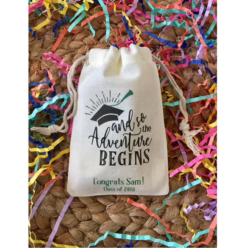 Customize Graduation Party Favor Bags And So The Adventure Begins Muslin Drawstring Survival Kit Bags Recovery Kit Hangovers Bag