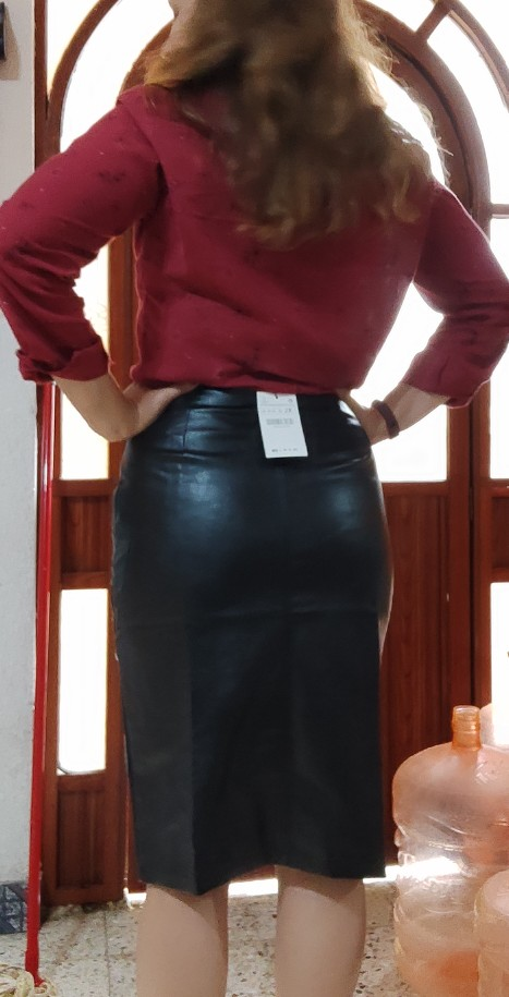 Aachoae Black PU Leather Skirt Women 2021 New Midi Sexy High Waist Bodycon Split Skirt Office Pencil Skirt Knee Length Plus Size|Skirts|   - AliExpress
